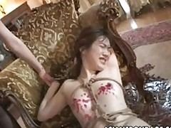 bawdy oriental angel attached moist perspired wax stockings licking tits