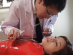 moist japanese milf saki okuda red leather penetrated severe blowjob