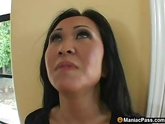 milf brunette shaved asian asian woman