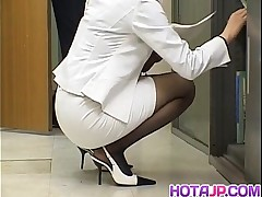 cumshot cum black milf handjob asian office fetish pantyhose footjob